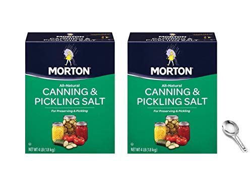 Morton Canning and Pickling Salt, 4 Pound Box (Pack of 2) W/ Custom F.O.Y Measuring Spoon and Clip