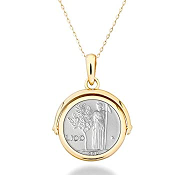 Miabella 18K Gold Over Sterling Silver Italian Genuine Reversible Flip 100 Lira Coin Pendant Necklace with 14-24 Inch Adjustable Chain Gold Medallion Necklace Made in Italy