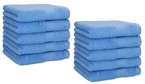 Betz 10 Toallas de Cara 30x30cm Premium 100% algodón Color Azul Claro