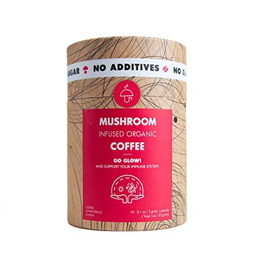 Mushroom Cups Go Fresh Superfood Instant Mushroom Coffee - 10pk of Wild Mediterranean Chanterelle & Chaga $1.39 per serving for Energy and Focus Vegan Organic Gluten Free Sugar Free