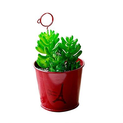 Gespout Petit Pot de Fleurs Métal Suspendu Rouge avec châssis Convient pour Jardin Intérieur Balcon Extérieur