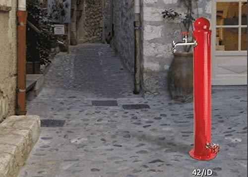 BEL FER Fontana da Giardino Stile idrante in Ferro Modello 4/ID Colore Rosso con dopio Rubinetto