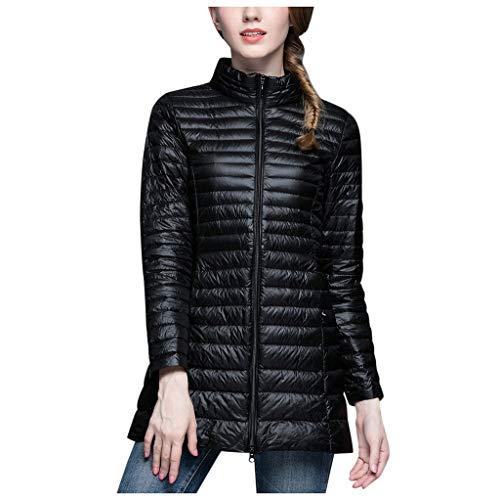 BRISEZZ mode winter lange donsjas winterjas slank lange mouwen mantel korte jas donsjack gewatteerde jas medium gevoerde (zwart, hot roze, kaki, rood, S-L4)