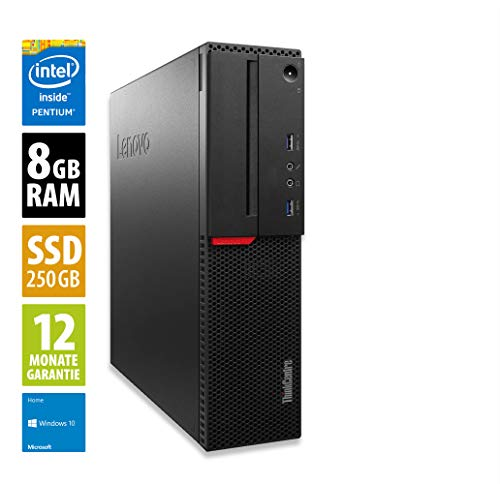 Lenovo ThinkCentre M800 SFF | Office PC | Computer | Intel Pentium G4400 @ 3,3 GHz | 8GB RAM | 250GB SSD | Windows 10 Home (Zertifiziert und Generalüberholt)