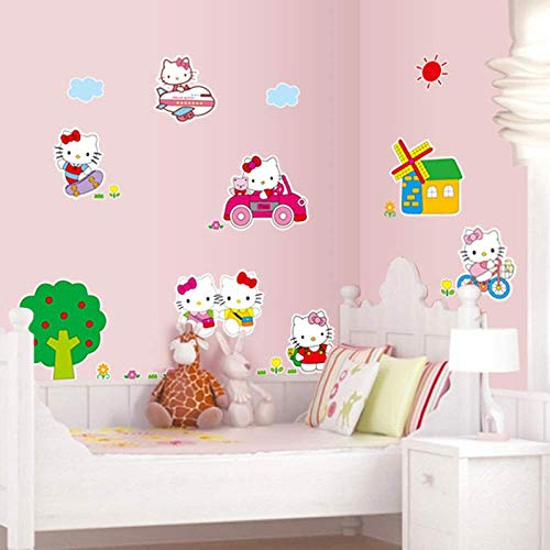 Wandaufkleber Selbstklebend Hello Kitty Hello Kitty Schlafzimmer Mädchen Rosa Süße Wanddekoration Wandaufkleber 45X60Cm