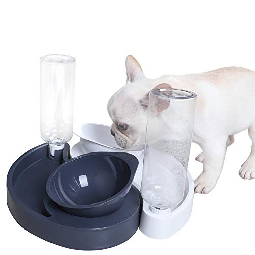 JUNIQUTE 2 in 1 Dog Cat Water and Food Bowl Set, Automatic Water Dispenser Bottle, Pet Food Bowl, Double Bowl Feeder Detachable Travel Supply for Puppy Kitten Animals (Gray)