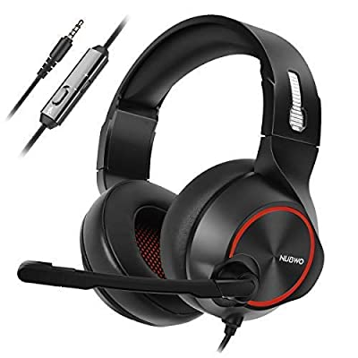 NUBWO PS4 Xbox one Headset Stereo Wired Game Headset with Noise reduction Mic, Over Ear Headphones with Volume&Mute Control for MAC/Playstation 4/Xbox 1-Red