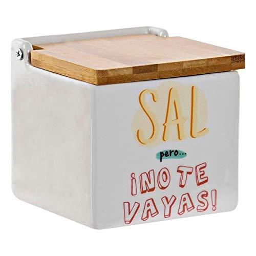 D,casa - Salero de Cocina Ceramica Original con Tapa Bambu diseño Frase...