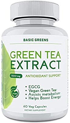 Green Tea Fat Burner Pills for Women - Weight Loss Supplement Pills - Vegan Green Tea Extract Supplement Pills with EGCG - Metabolism Booster for Weight Loss (60 Capsules | 1300mg) by BASIC GREENS