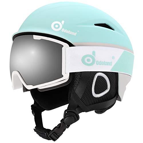 Odoland Skihelm und Skibrille Set Neue Snowboardhelm mit Snowboardbrille für Damen und Herren Jugend Ski Goggles UV 400 Schutz Windwiderstand Snowboard Brille zum Skifahren und Bergsteigen Hellblau L