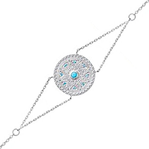 So Chic Joyas© pulsera mujer cadena 18cm Disco, diseño azteca, étnico piedras azul turquesa plata 925
