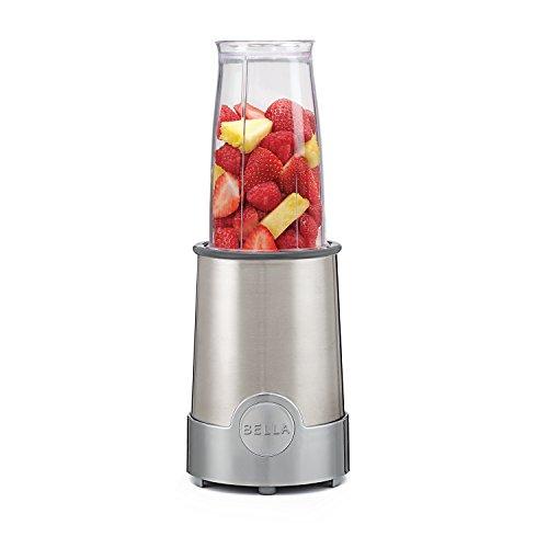 BELLA (13330) Personal Size Rocket Blender, 12 Piece Set, Stainless Steel & Chrome