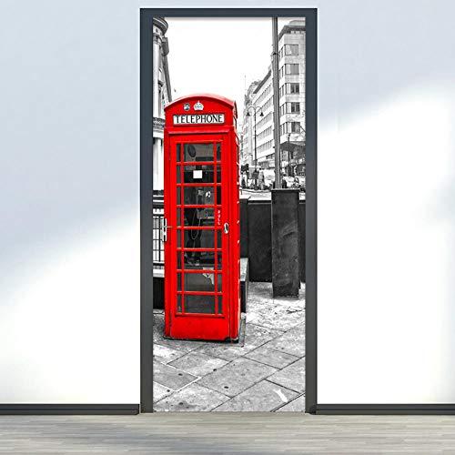 MZNVTD Etiqueta De La Puerta 3D Pegatinas De Pared Cabina De Teléfono Roja De La Ciudad 77X200Cm Impermeable Removable Vinilos Carteles Murales Para Dormitorio Cuarto De Niños Arte Moderno Dec