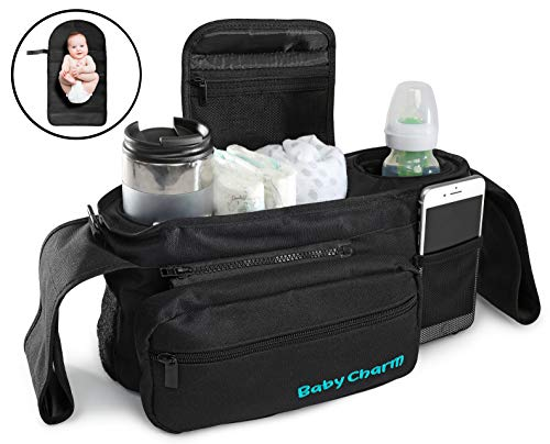 Premium Stroller Organizer Bag with Insulated Cup Holders, Extra-Large Stroller Storage, Changing Pad and Shoulder Strap | Universal Fit | Baby Stroller Accessories Caddy and Baby Shower Gift
