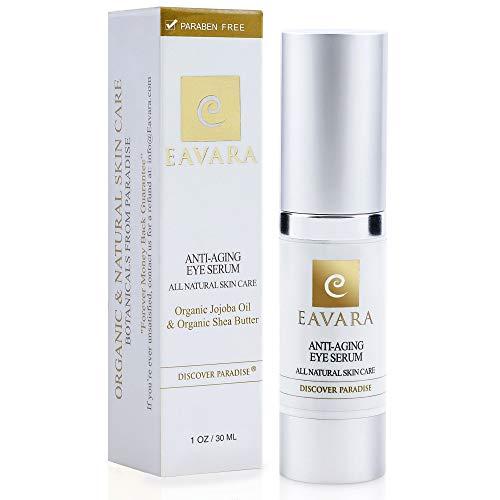 Organic Anti Aging Eye Cream - 1 oz Award Winning Eye Serum for Wrinkles, Fine Lines and Puffiness - Natural Skin Care with Aloe Vera, Jojoba Oil, Witch Hazel, Vitamin E, Hyaluronic Acid