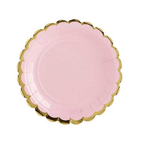 Lot de 8 Unique Party Feuille dor Rose rectangulaire Papier Mise en Bouche Assiettes