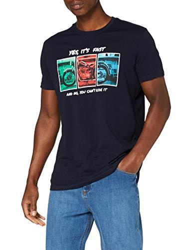 Springfield 3Ec Moto-c/12 Camiseta, Azul (Medium_Blue 12), S (Tamaño del Fabricante: S) para Hombre