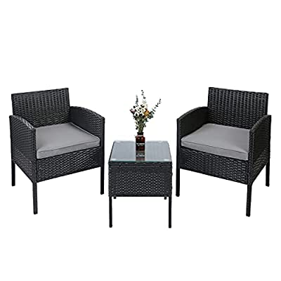 AGESISI 3 Pieces Outdoor Patio Furniture Sets PE Wicker Rattan Chairs Conversation Sets with Coffee Table, Suitable for Patio Garden Lawn Backyard Pool Clearance (Black)