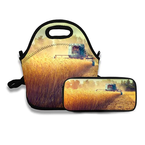 Lunch Bag and Pencil Case,Harvester machine to harvest wheat field working Combine harvester agriculture machine harvesting golden ripe wheat field Agriculture,Meal Bag and Pencil Bag Set Keep -  kilahanto