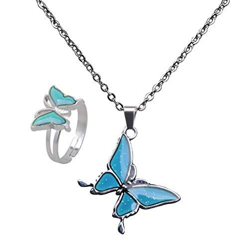 oshhni Lindo Conjunto de Anillos, Collar Y Colgante de Mariposa, Conjunto de Joyas