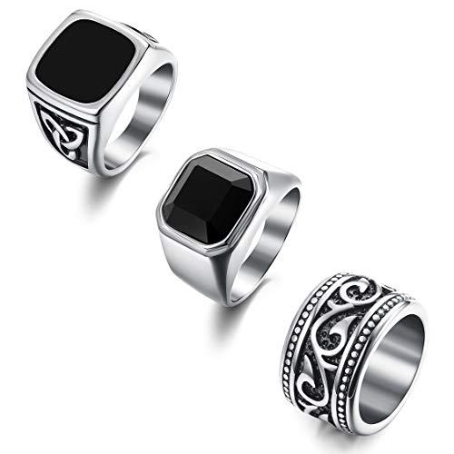 Florideco 3Pcs Stainless Steel Rings for Men Vintage Biker Band Rings Set Wide Signet Ring Size 9