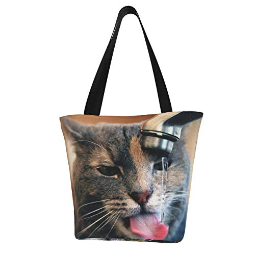 Bolsa de lona personalizable, diseño de gato con gotas de agua, bebida y sed de bebida, lavable, bolsa de hombro, bolsa de compras para mujer