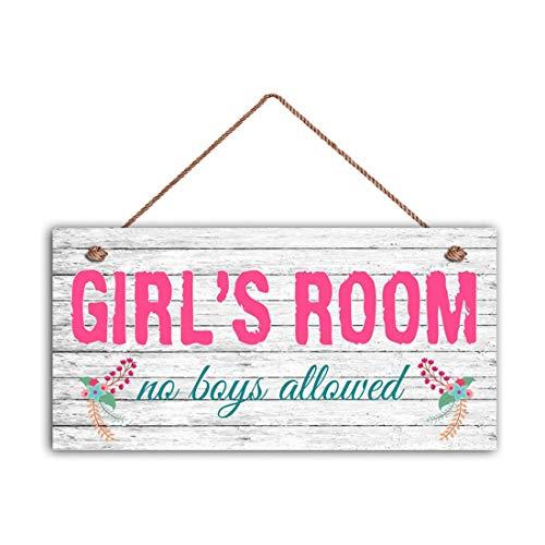 "MAIYUAN Girl's Room Sign, No Boys Allowed, Girl's Room Decor, Nursery, Girl's Door Sign, Room Plaque, Birthday Gift, 5"" x 10"" Sign(E2-WH065)"