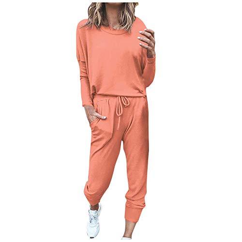 Xiand Damen Velours Hausanzug Weich Warm Samt Pyjamas Zweiteiler Freizeitanzug mit Taschen Nicki Oberteil+Hose für Winter