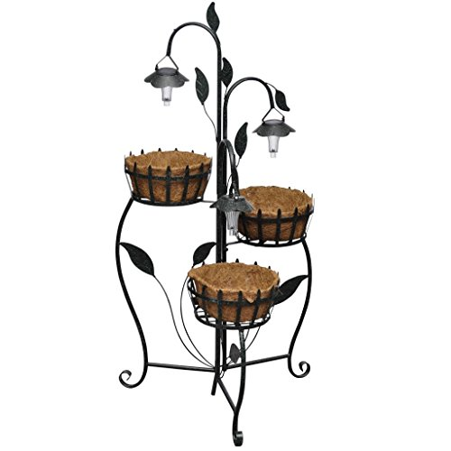 Festnight Metall Blumenampel mit LED Beleuchtung, 3 Ebenen, Stehend, Einlagen aus Kokosfasern, 47 x 48 x 109 cm, Deko Pflanzenhalter für Balkon oder Garten