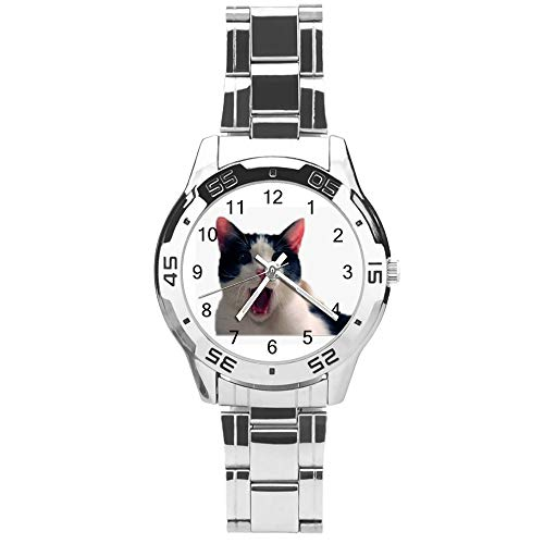 Classic Three Hand Quartz Watch with Stainless Steel Strap,Dial Cat Lover Surprised,Adjustable Automatic Strap,Silver,for Unisex,Best Gift (41mm) l36n3v14sxum