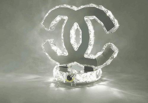 LED K9 Crystal Tafellamp Moderne RVS Spiegel Bureau Lamp Baby Kamer Slaapkamer Woonkamer Hall Elegante Semicirkel Dubbele C Decoratieve Interieur hedendaags Whitelight6000k