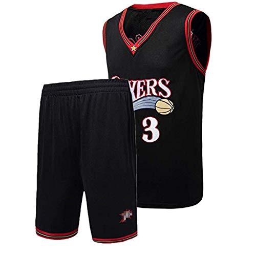 Allen Iverson Trikot, NO.3 Retro Philadelphia 76ers, Basketballspieler-Trikot und Shorts, Atmungsaktive Und Abriebfeste Stickerei, Jungen Herren Fans Trikot