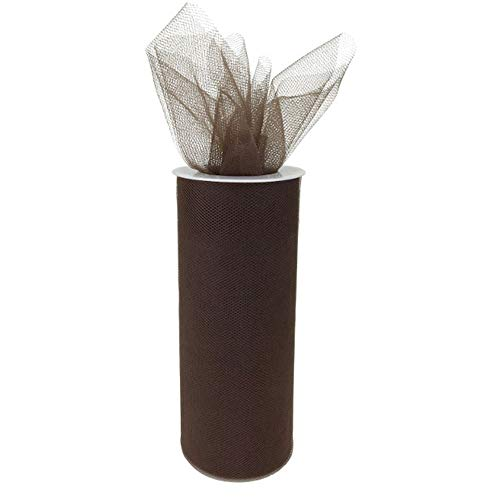Just Artifacts Tulle Fabric Roll 25yrd Length x 6in Width (Color: Chocolate)