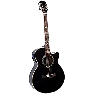 Lindo LDG-BF Electro-Acoustic Guitar with Active Pre-amp, Digital Tuner, XLR/Jack and Carry Case - Black Fire