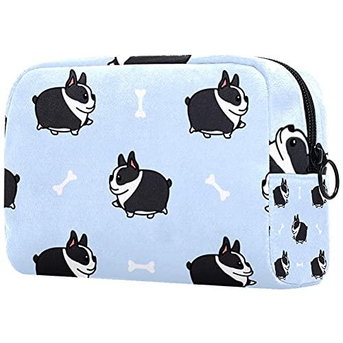 Bolsas de maquillaje de belleza portátil bolsa de cosméticos de viaje bolsa de cuero multifunción con cremallera bolsas de aseo para mujeres Terrier perro caminando dibujos animados