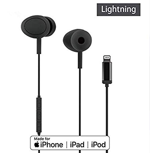 in-Ear Lightning Earphones Earbuds Headphones-Mic and Volume Remote and Noise Isolation, MFI-Certified, Compatible with iPhone X/XS/XR/XS Max, 7/7P, 8/8P iPad, iPod