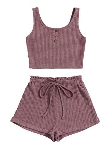 SOLY HUX Pantalones cortos y tops de 2 piezas para mujer, sin barriga, camiseta sin tirantes, pantalones cortos, traje de casa, 2 piezas Malva S
