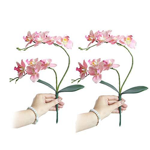 Fellibay Künstliche Phalaenopsis Orchidee Blume 2 Köpfe Orchidee Pflanze Seide Blume Phalaenopsis Bouquet Home Wedding Decor 2er Pack, hellrosa, 18.50in