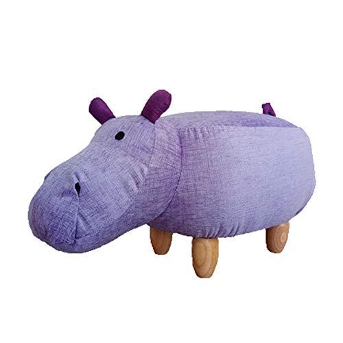 Dierenkruk, kinderkruk kruk van hout, kruk met bont voor leuke decoratiekruk met diermotief (paard), lila, small