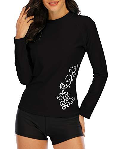 Halcurt Damen Rashguard UV Bekleidung, Athletic Swim Shirt,Langärmelige Badeshirt Badenmode Tankini