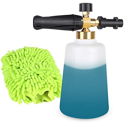 Lanza de espuma de nieve ajustable, boquilla dispensadora de jabón de cañón de espuma de 1,5 l para lavadora a presión Karcher K Series K2 K3 K4 K5 K6 K7 (con guantes de lavado de autos verdes)
