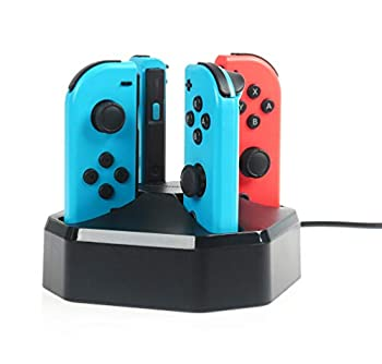 Amazon Basics Charging Station Dock for 4 Nintendo Switch Joy-con Controllers - 2.6 Foot Cable Black