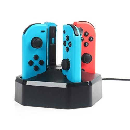 AmazonBasics - Postazione di ricarica per 4 controller Joy-Con di Nintendo Switch, cavo da 7,92 m, nero