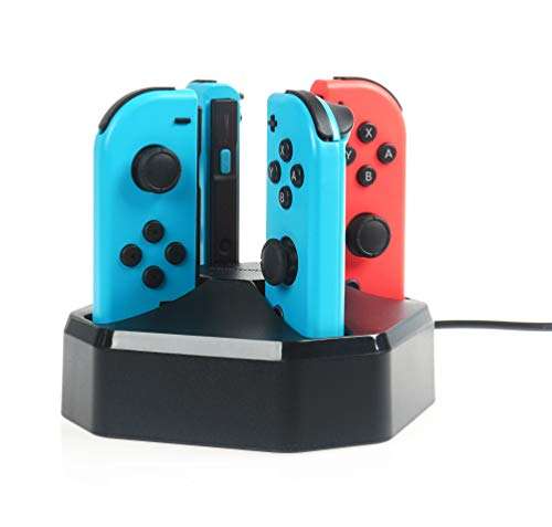 AmazonBasics - Estación de carga para 4 mandos Joy-Con de Nintendo Switch, cable de 7,92 m, color negro