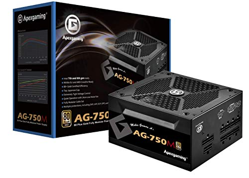 New 2020 80+ Gold Certified Fully Modular 750W High Performance Gaming Power Supply Support RTX3090 / RTX3080 GPU ApexGaming AG-750M PSU