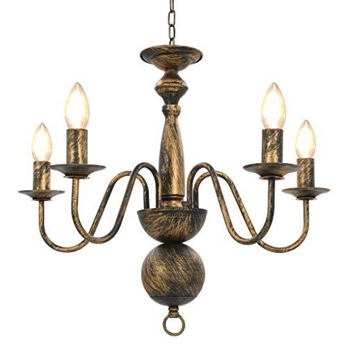 vidaXL Kronleuchter Antik Deckenlampe Pendelleuchte Lüster Deckenleuchte Hängeleuchte Hängelampe Leuchte Lampe Schwarz 5xE14-Glühbirnen