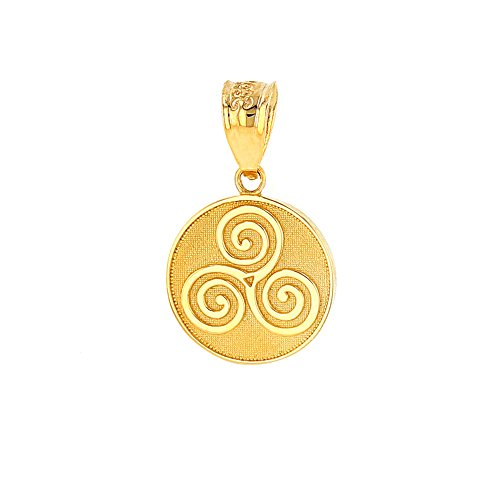 Solid 10k Yellow Gold Celtic Triple Spiral Triskele Round Charm Pendant