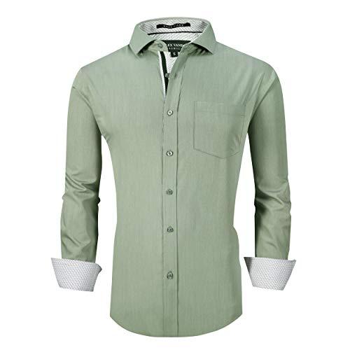 Alex Vando Mens Dress Shirts Wrinkle Free Regular Fit Stretch Bamboo Men Shirt,Olivine,M