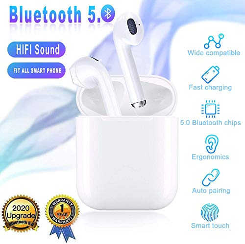 Bluetooth 5.0 Wireless Earbuds, in-Ear Built-in Mic Headset Noise Canceling IPX5 Waterproof Sports Headset, Pop-ups Auto Pairing with Portable Charging Case,Comfortable for Android/iPhon/Airpods