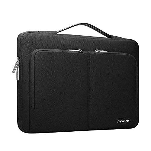 MOSISO 360 Protective Laptop Sleeve Case Compatible with MacBook Pro/Air 13 inch, 13-13.3 inch Notebook Computer, Polyester Briefcase Bag with 2 Same Front Organizer Pockets & Trolley Belt, Black
